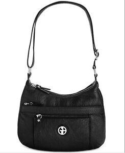 "New Giani Bernini Black Pebbled Faux Leather Strap Zip Hobo Bag 12"" W 9"" H 3"" D"