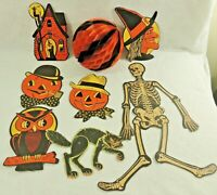 Lot 8 H.E.Luhrs 1930 Halloween Die Cut Jointed Honeycomb Paper Decorations USA