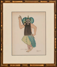 """""""Chang Fei"""" Hand-Colour Plate from 1935 Le Theatre Chinois in Gilt Bamboo Frame!"""