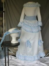 Victorian Dress Edwardian Civil War Style Outfit Blue White w Hat & Bustle