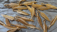 "Pendant Hamilton Gold Plated Feather 1 1/2"" (qty 12 pair) 1213"