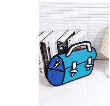 3D Jump Style 2D Drawing From Cartoon Paper Bag Comic 3D Messenger Bag Blue