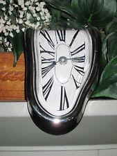 Melting Shelf Clock Surrealist Art Distorted Chrome Quartz Timepiece Mantel
