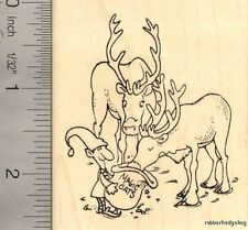 Santa's Reindeer Christmas Rubber Stamp, Elf J15502