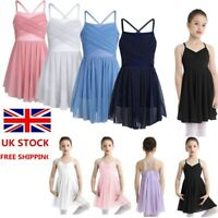 UK Girls Ballet Dance Dress Lyrical Leotard Latin Tutu Skirt Dancewear Costume