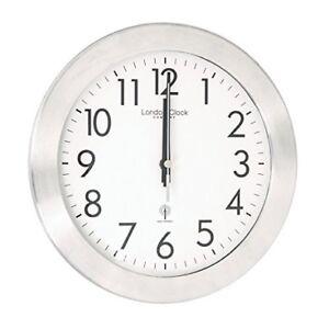 London Clock Brushed Chrome RC Wall Clock, 26 x 26 x 4.5cm