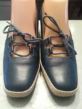 Easy Spirit loafers womens blue size 8-AA leather/laces beautiful flats wedges