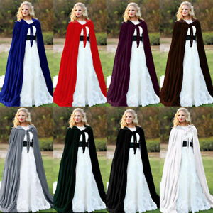 Halloween Hooded Velvet Cloak Robe Cape Medieval Witchcraft Cape Cosplay Costume