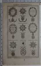 1788 ORIGINAL PRINT ORDERS OF KNIGHTHOOD ORDER OF THE GARTER THISTLE ST ANDREW