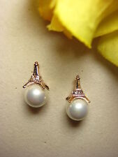 Earring Studs 925 Silver Gold Plated Shell Pearls Eiffel Tower 10 MM