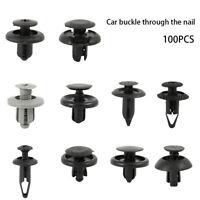 100X Black Plastic Push Rivet Trim Panel Fastener Clips 8mm Dia Hole for Car New