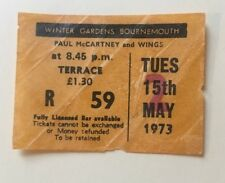 Beatles Paul McCartney Wings 1973 Concert Ticket Bournemouth Rare