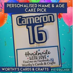 Personalised (PlayStation font) Birthday Glitter Card Cake Topper/Pick