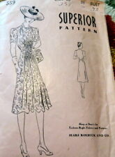 Lovely Vtg 1930s Dress Superior Sewing Pattern 20/38