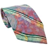"""Oscar de la Renta Neck Tie Watercolor Distressed Striped Purple Polyester 55"""""""