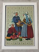 1932 Antique Print Dutch Costume Tulip Flower Seller Holland Chromolithograph