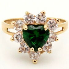 Green Heart Cubic Zirconia Halo Cocktail Ring 3.54ct 14K Yellow Gold Size 8.5