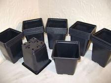 200 X 9cm SQUARE BLACK PLASTIC PLANT POTS EX VALUE