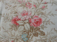 Antique Shabby Time Softened French Roses & Bows Fabric ~ Pink Blue Taupe ~