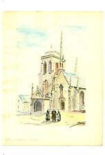 Aquarelle Originale  sur papier canson  Eglise de Locronan    J.Lucas