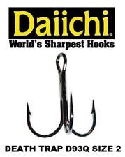 Daiichi Replacement Treble Hooks D93Q Light Wire Death Trap Black Nickel Size 2