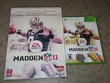 Madden NFL 11 (Microsoft Xbox 360, 2010) With Strategy Guide