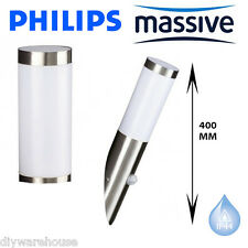 PHILIPS MASSIVE UTRECHT PIR SENSOR STAINLESS STEEL EFFECT WALL LIGHT 400MM