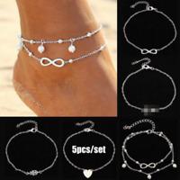 5pcs/set Fashion Ankle Bracelet Set Anklet Gold Silver Foot Beach Chain Jewelry
