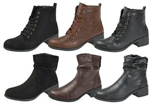 Womens Comfort Low Heel Classic Ankle Boots Faux Leather Zip Or Lace Up Shoes