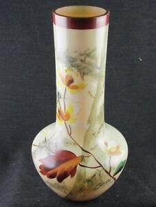 1890S BOHEMIAN FIERY TAN 8.5 INCH TALL BLOWN DECORATED GLASS VASE FALL SCENE
