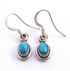 """2.3Gm 925 Solid Sterling Silver Pendant Turquoise Cab Stone Fine Pendant 1"""" M905"""