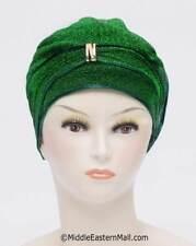 Petite Dazzle Hijab Caps # 2 Green Chemo Cancer Hair Loss Hat, Turban Chemo Cap