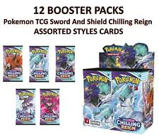 More details for 12 booster pack pokemon tcg sword and shield chilling reign assorted styles card