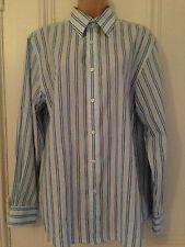 Thomas Nash Mens white shirt with blue vertical stripes size S
