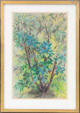 PASTELL VON MOLLY LINDELL (*1906) »BLÜHENDER STRAUCH« GARTENSTILLLEBEN
