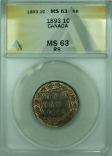 1893 Canada One Cent Coin BU UNC ANACS MS-63 RB (WB1)