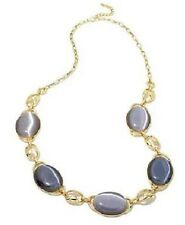 """Roberto by RFM Simulated Cat's Eye Oval Stone Goldtone 31-1/2"""" Station Necklace"""
