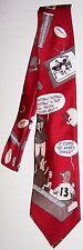 VINTAGE RED Fanatical Football Fan Necktie 100% Silk Novelty Humorous Tie