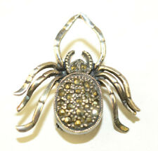 VINTAGE STERLING SILVER MARCASITE SPIDER BUG PIN 1 1/8 INCHES LONG & 1 INCH WIDE