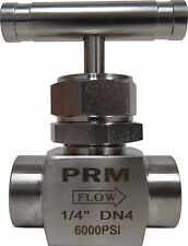 NEW PRM NEEDLE VALVE ¼ INCH NPT 304 STAINLESS STEEL 6000 PSI NIB