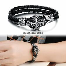 Men Stainless Steel fleur de lis Celtic Cross Black Leather Biker Bracelet 8.5""