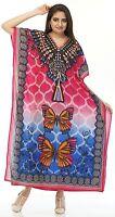 Nouvelle Robe Longue Kaftan Imprimé Papillon Maxi Taille Unique Femmes Robe Rose