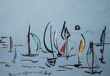 Original Pastel Ink Modern Sea Sailboats Blue Landscape Gallery Artist Anya