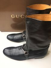 GUCCI Mens Black Leather Horsebit Harness  Riding Boots, 10 UK (10.5 US) $1150 *
