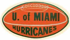 University of Miami  HURRICANES   Football  Vintage Looking Travel Decal Sticker