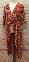 LuLaRoe SHIRLEY Pleated Crinkle Floral Kimono Duster Multi Color Size S - NEW