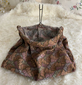 Vintage Hanging Clothes Pin Bag with Metal Hanger Double Sided Carpet Bag Fall