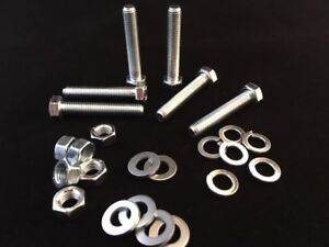 M7 High Tensile Full Thread Bolts and Nuts + Washers Zinc Plated Pack 6,12 or 24