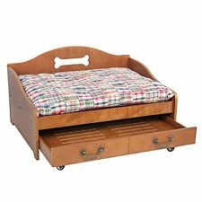 Wooden Pet Dog Cat Bed w/ 2 Tier Storage Vintage Durable Furniture Solid NEW