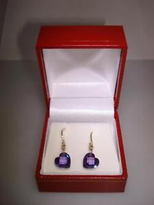 BEAUTIFUL NEW WITHOUT TAGS 14K SOLID GOLD APPROX. 6 CTW AMETHYST HEART EARRINGS!